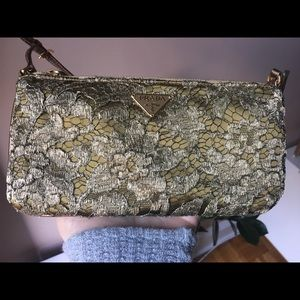 Prada vintage olive lace and satin clutch